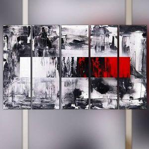 Peinture graphique noir blanche et rouge achat vente for Peinture graphique