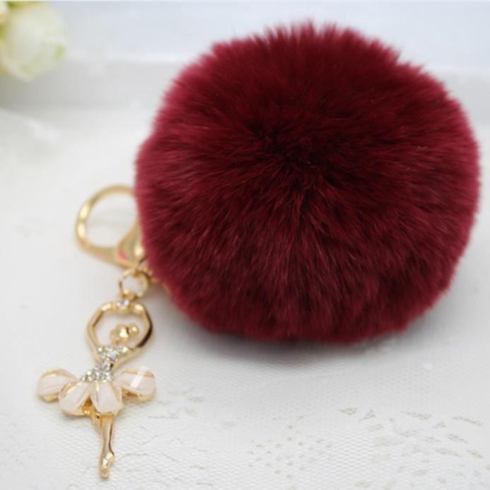 lapin boule de fourrure porte cl s vin rouge rouge achat vente porte cl s 2009804894486. Black Bedroom Furniture Sets. Home Design Ideas