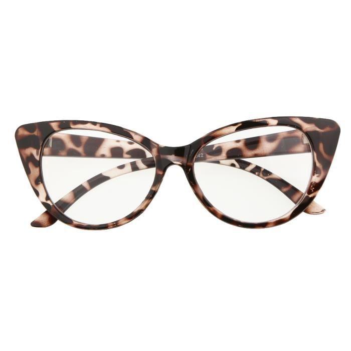 mignon 1x monture de lunette avec verre il de chat l opard lentille transparente achat. Black Bedroom Furniture Sets. Home Design Ideas