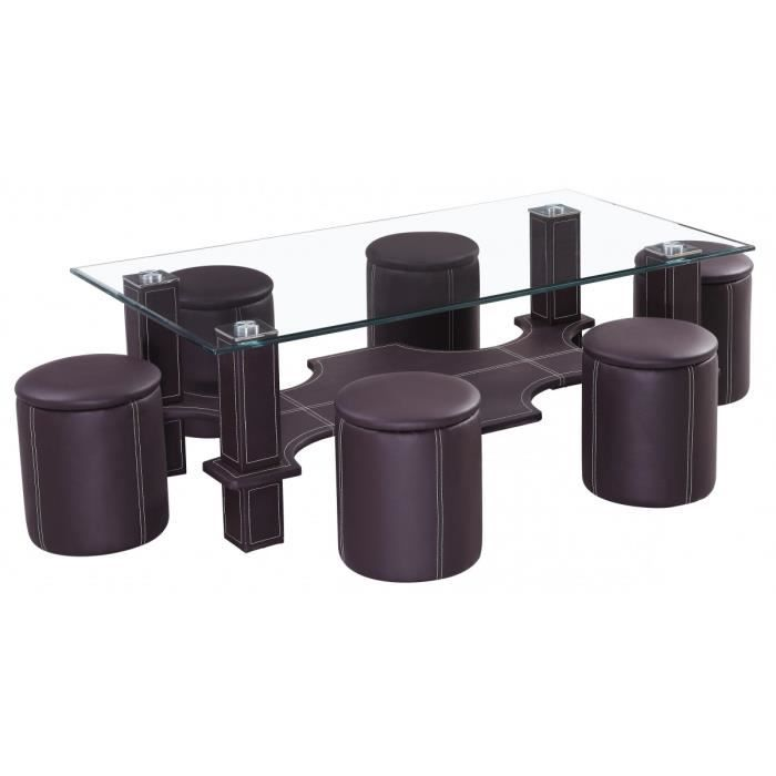 table basse en verre avec 6 poufs pu brun achat vente. Black Bedroom Furniture Sets. Home Design Ideas