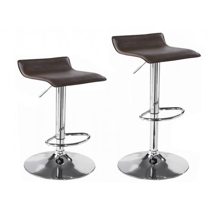 paire de tabourets de bar chaises de bar hauteur r glable rev tement simili cuir noir. Black Bedroom Furniture Sets. Home Design Ideas