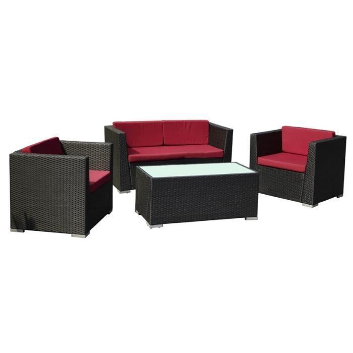Salons de jardin lftpe 41 gris rouge achat vente salon for Jardin gris et rouge