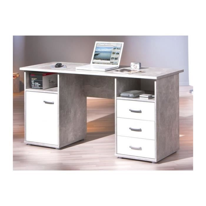 Bureau 1 porte 3 tiroirs florus effet b ton achat for Meuble bureau 69