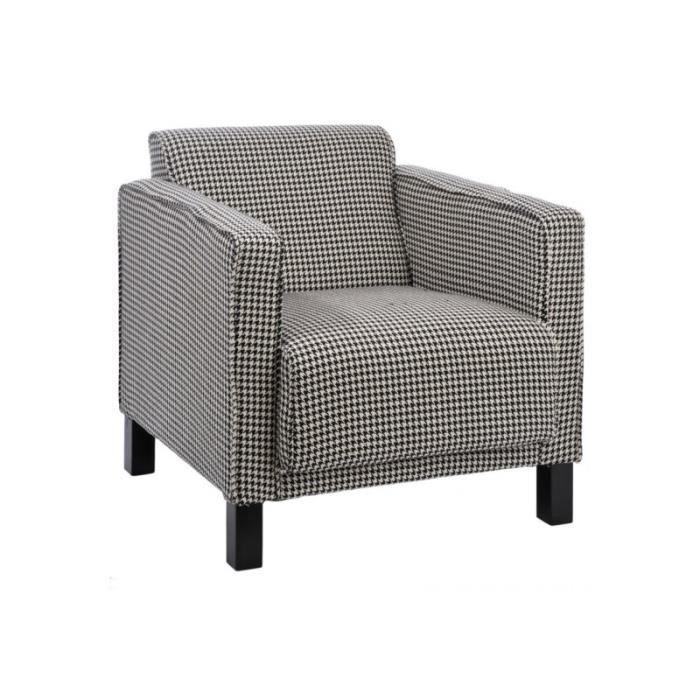 fauteuil lina pied de poule coton noir et blanc achat vente fauteuil coton cadeaux de. Black Bedroom Furniture Sets. Home Design Ideas