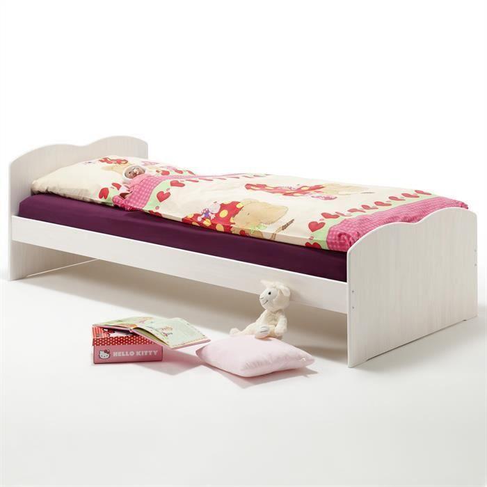 Lit simple pin massif 90 x 200 cm lasur blanc achat vente lit complet li - Lit enfant c discount ...