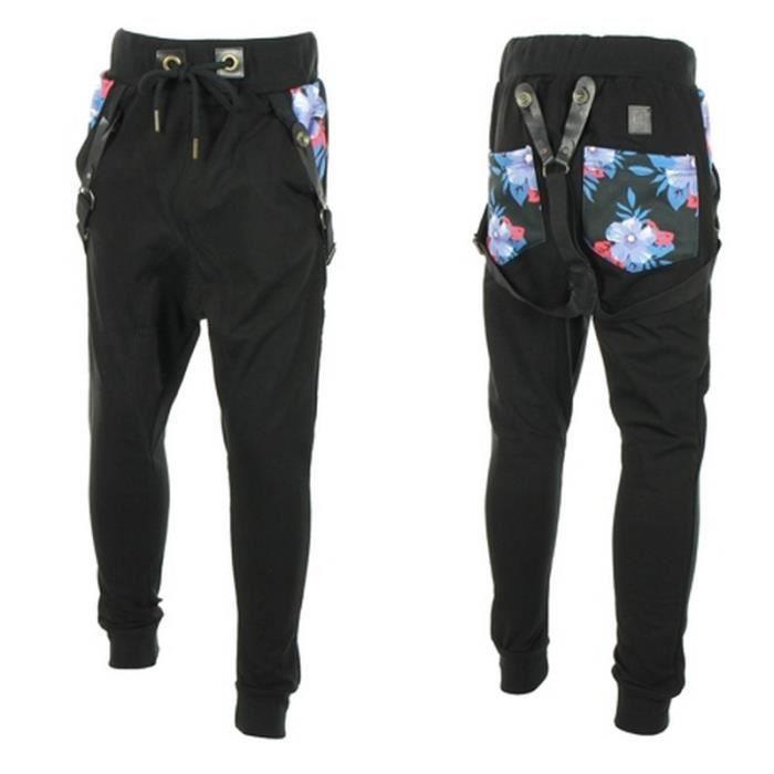 jogging sarouel cabaneli fleurs homme jasmine noir achat vente pantalon cdiscount. Black Bedroom Furniture Sets. Home Design Ideas