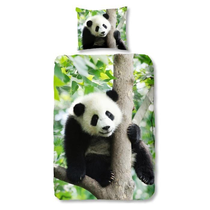 good morning parure de couette panda 1 housse de couette 140x200 cm 1 taie 60x70 cm noir. Black Bedroom Furniture Sets. Home Design Ideas