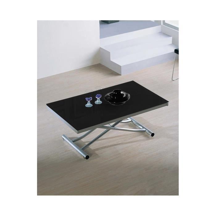 Table basse relevable et extensible avec 2 allonges - Table basse avec tablette relevable ...