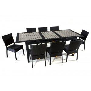 salon de jardin en polywood et r sine 8 places achat. Black Bedroom Furniture Sets. Home Design Ideas