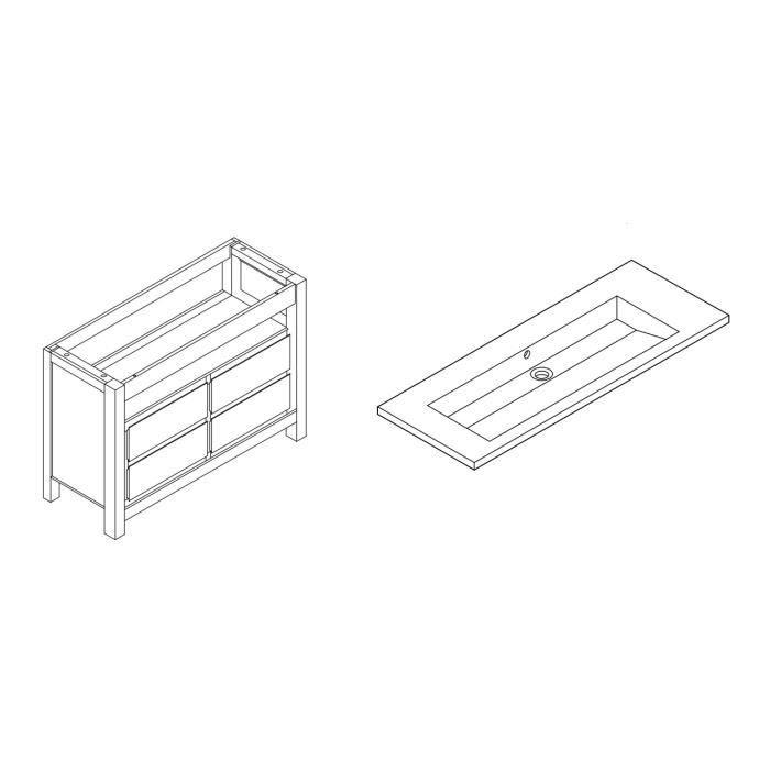 Hemisphere nord meuble sous vasque 120 cm plan r sine for Meuble sous vasque 120