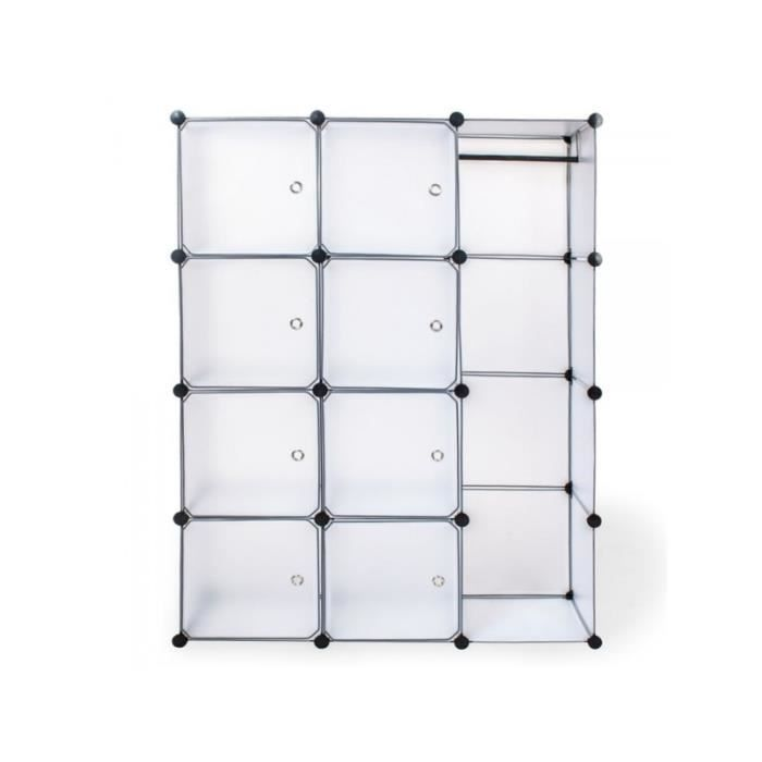 armoire de rangement meuble penderie tag re blanc 2008044 achat vente armoire de chambre. Black Bedroom Furniture Sets. Home Design Ideas