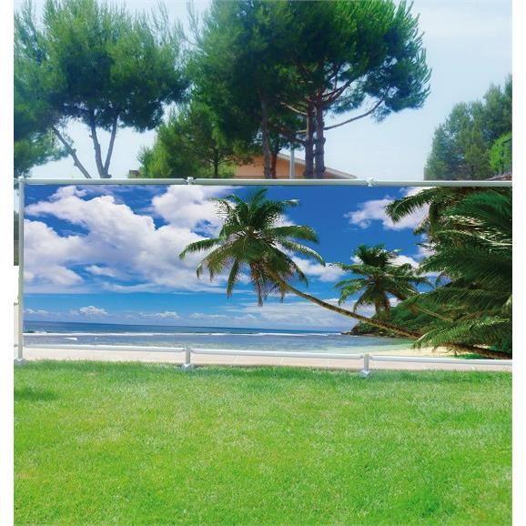 brise vue d co palmiers plage les tropiques occultation 100 dimensions 300x117cm achat. Black Bedroom Furniture Sets. Home Design Ideas