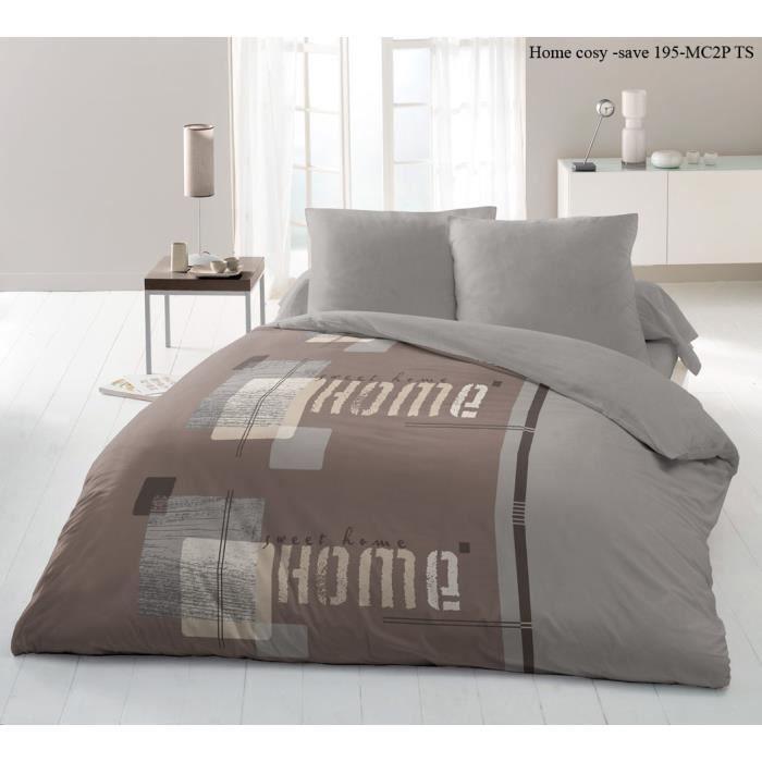 parure de couette 220 x 240 cm home cosy imprim e achat vente parure de couette cdiscount. Black Bedroom Furniture Sets. Home Design Ideas