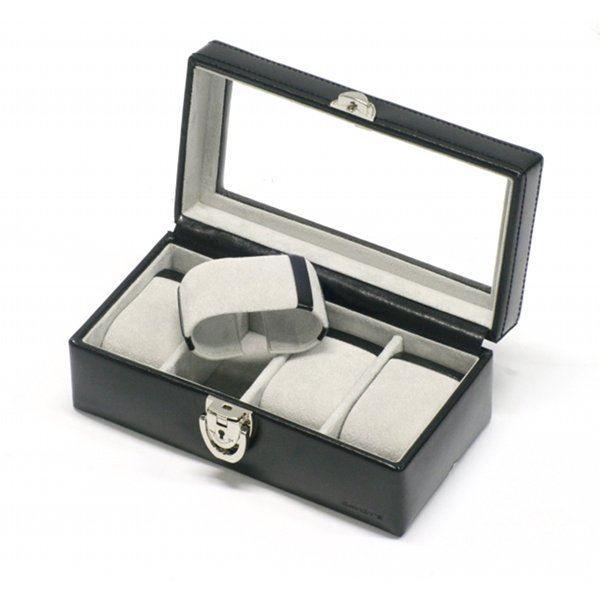 boite 4 montres en cuir noir achat vente boite a montre cdiscount. Black Bedroom Furniture Sets. Home Design Ideas