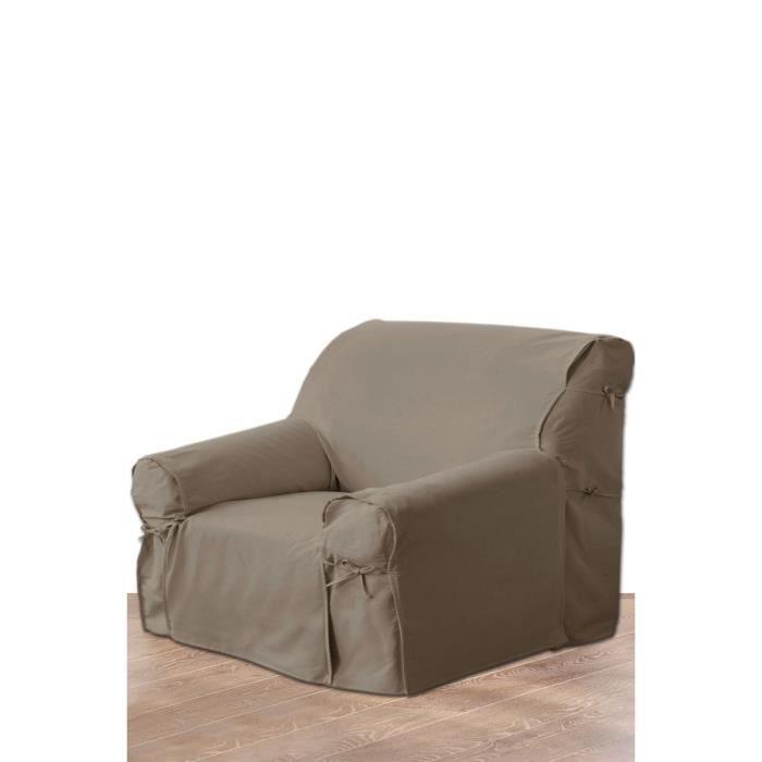 Housse de fauteuil taupe marron achat vente housse for Housse coussin fauteuil