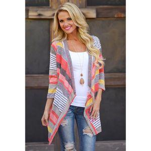 GILET - CARDIGAN EOZY Gilet Cardigan Femme Sweater Imprimé Manches