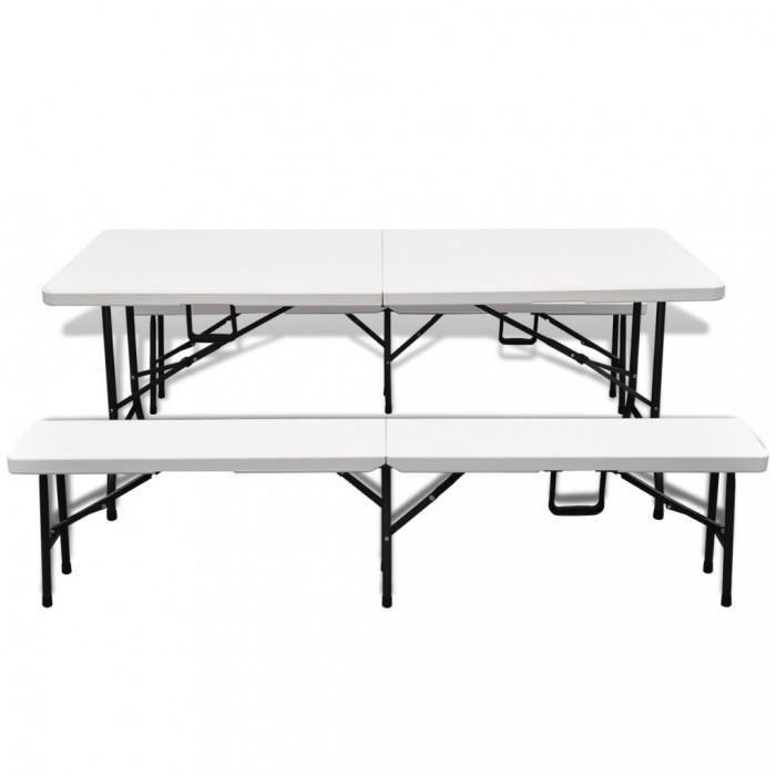 ensembles de meubles d 39 exterieur set de jardin pliable blanc 1 table avec 2 bancs en hdpe 180cm. Black Bedroom Furniture Sets. Home Design Ideas