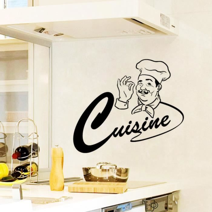 Noire cr ative cuisine dessin anim sticker mural pour for Motif sur mur
