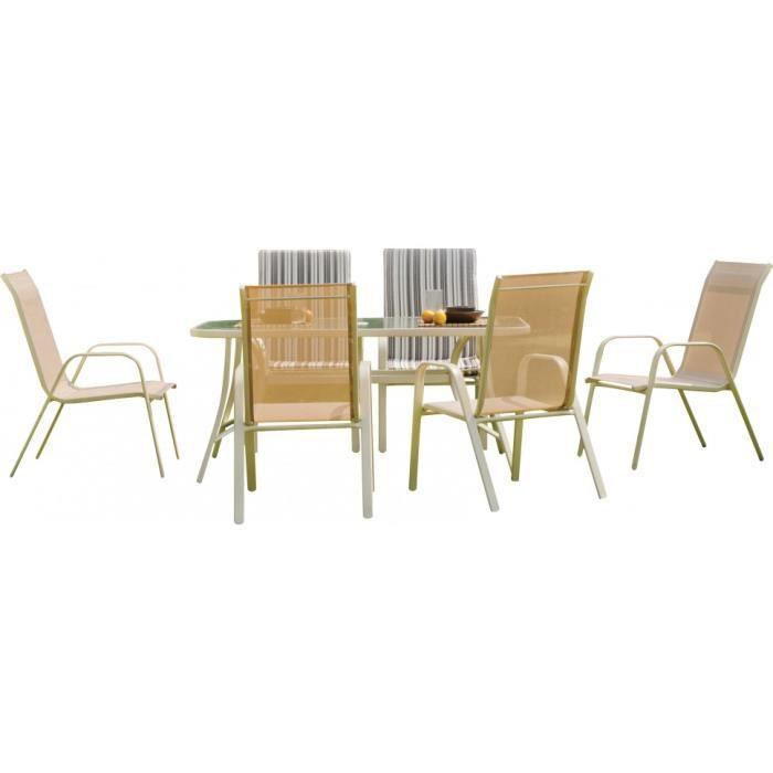 Salon De Jardin Aluminium Cru 6 Personnes Table L150