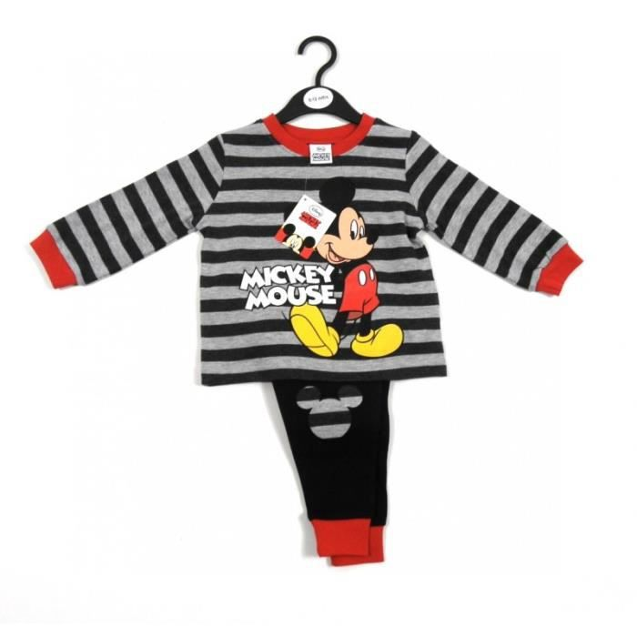 pyjama enfants gar ons mickey mouse 5 ans disney 2 pi ces maillot manches longues ray s gris. Black Bedroom Furniture Sets. Home Design Ideas