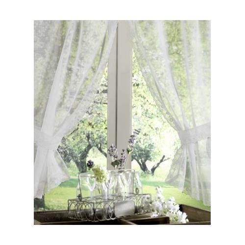 paire de vitrage blanc 90 x 120cm achat vente rideau. Black Bedroom Furniture Sets. Home Design Ideas