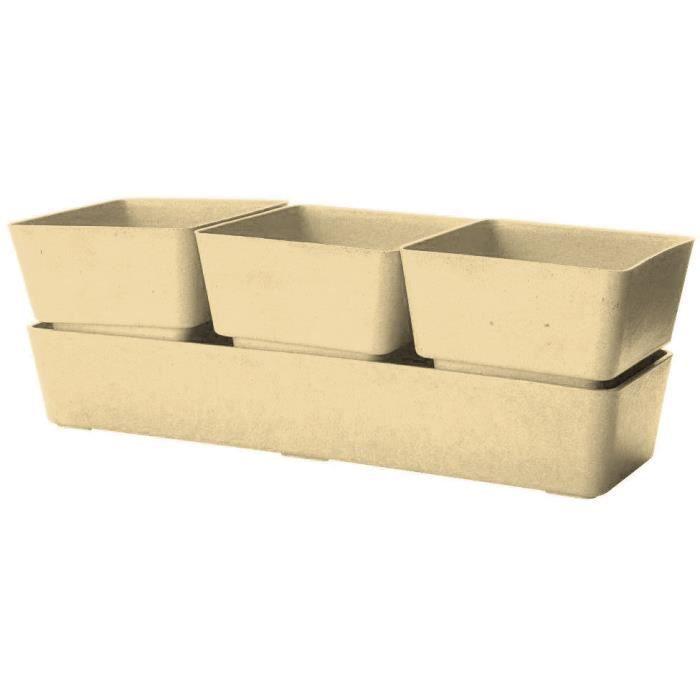 jardini re beige 3 pots en bambou et r sine 31x10 4x10cm compos e de 3 pots de litre. Black Bedroom Furniture Sets. Home Design Ideas