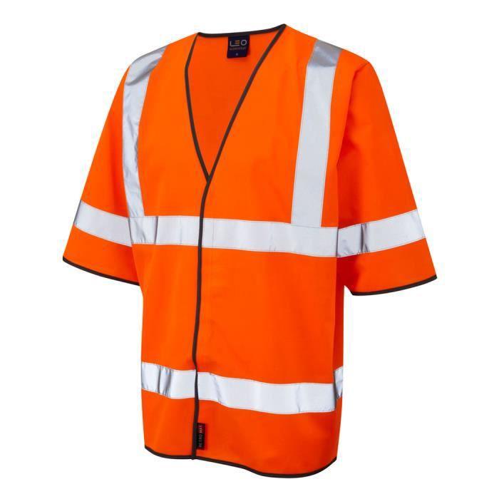 gilet homme leo hi vis manche courte grande taille 8xl orange orange achat vente gilet. Black Bedroom Furniture Sets. Home Design Ideas