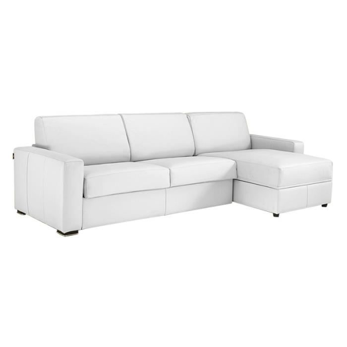 canap lit d 39 angle milano cuir recycl blanc 160cm achat. Black Bedroom Furniture Sets. Home Design Ideas