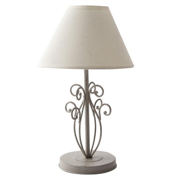 lampe de chevet fil m tal avec socle 20x20x33cm beige. Black Bedroom Furniture Sets. Home Design Ideas