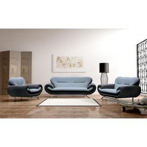 Canape sofa divan 3 places gris noir achat vente for Divan 1 place