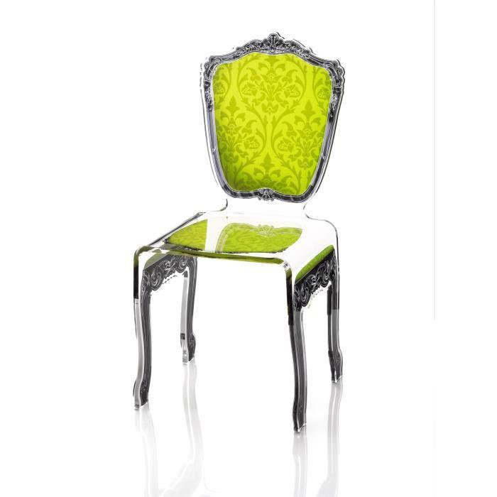 Acrila chaise baroque vert clair achat vente chaise vert cdiscount - Chaise baroque transparente ...