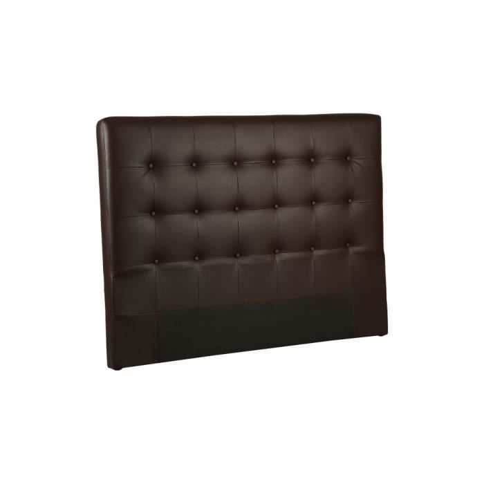 t te de lit capitonn e simili cuir chocolat pour lit 160 achat vente canap sofa divan. Black Bedroom Furniture Sets. Home Design Ideas