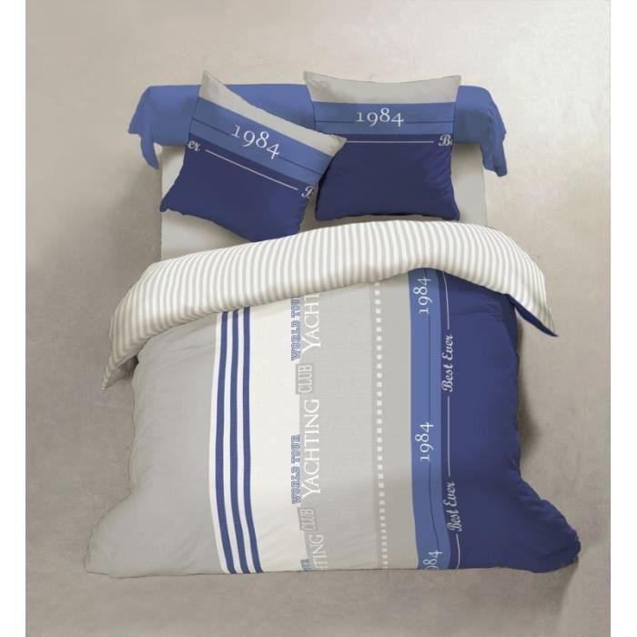 housse de couette 57 fils bord de mer xxl 260 x 240 cm achat vente housse. Black Bedroom Furniture Sets. Home Design Ideas