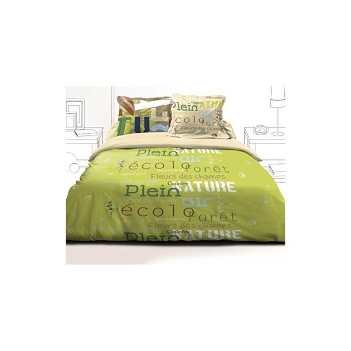 parure de lit echapp e 140 x 190 cm vert achat. Black Bedroom Furniture Sets. Home Design Ideas