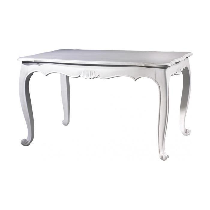 Table de s jour rectangulaire h tre laque blanc pieds for Table de sejour blanc laque
