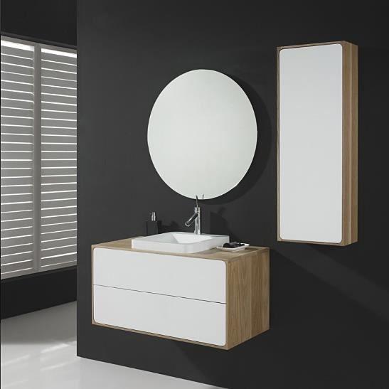 meuble suspendu 90cm 2 tiroirs vasque en pierre acrylique pajala 90 achat vente meuble. Black Bedroom Furniture Sets. Home Design Ideas