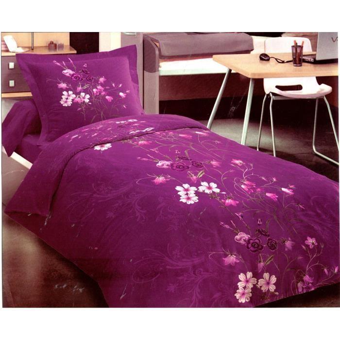 parure de lit housse de couette 100 coton 57 fils m2 parure de couette 140x200 achat vente. Black Bedroom Furniture Sets. Home Design Ideas
