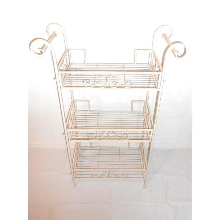 Etag re fer forg blanc patin e 108x70x30 cm achat vente objet d coratif cdiscount - Etagere 70 cm ...
