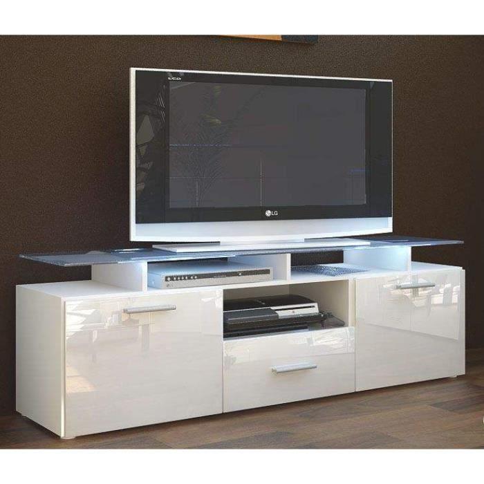 meuble tv 146x46x35 laqu blanc achat vente meuble tv meuble tv 146x46x35 laqu b cdiscount. Black Bedroom Furniture Sets. Home Design Ideas