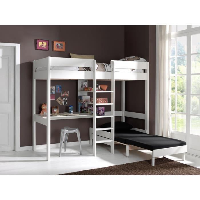 Pino lit mezzanine canap extensible blanc achat vente lit mezzanine - Lit mezzanine canape ...