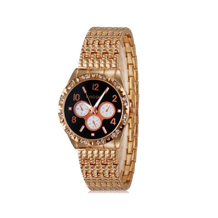 Kingsky 8868 femmes cadran rond l gant montre analogique avec crystal d coration noir achat for Montre decoration