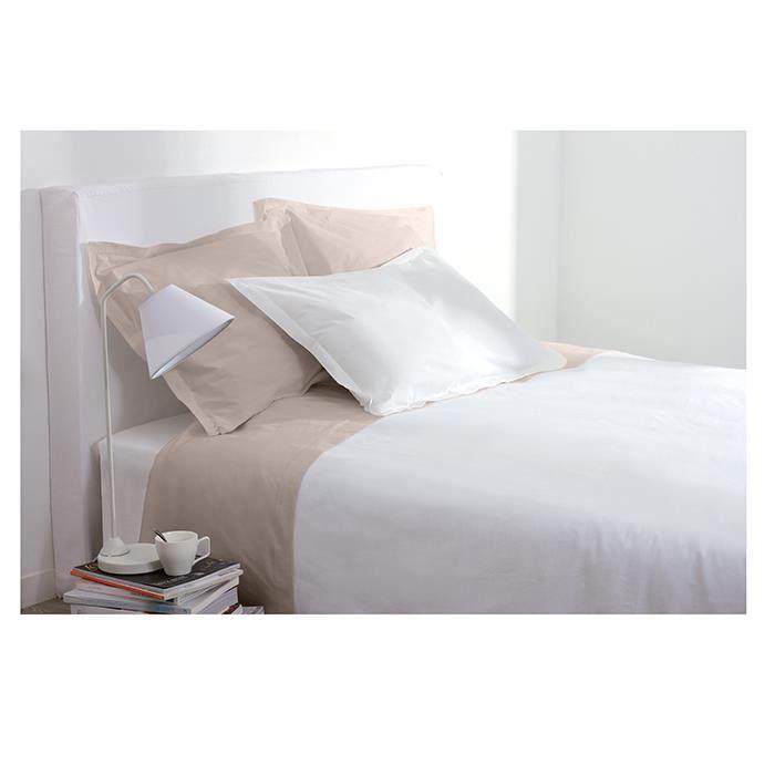 drap housse 1 personne 90x190 cm 100 coton blanc achat vente drap housse cdiscount. Black Bedroom Furniture Sets. Home Design Ideas