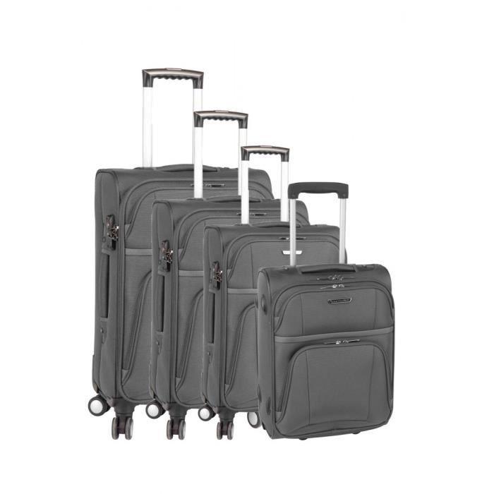 set de 3 valises 4 roues et une valise cabine 2 roues spirit 39 s ball gris gris achat vente. Black Bedroom Furniture Sets. Home Design Ideas