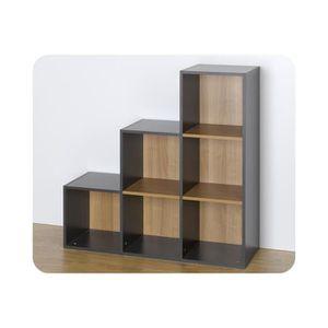 etag res 6 cases de rangement escalier modulables gris achat vente etag re murale etag res. Black Bedroom Furniture Sets. Home Design Ideas