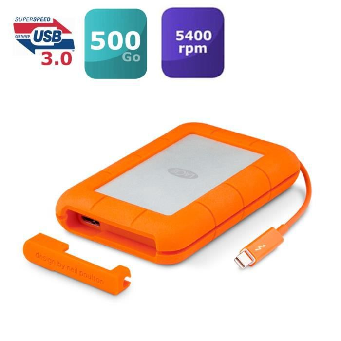 LACIE RUGGED THUNDERBOLT SSD 500 Go + Cable Achat / Vente disque dur