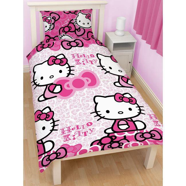 parure de lit hello kitty bows achat vente parure de. Black Bedroom Furniture Sets. Home Design Ideas