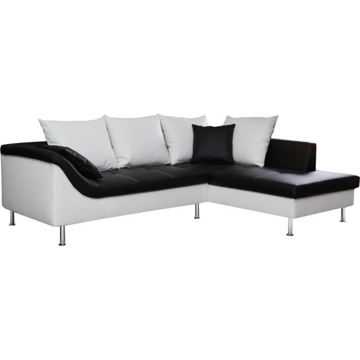 Canap d angle droit en simili cuir de coloris noir et for Canape d angle noir et blanc