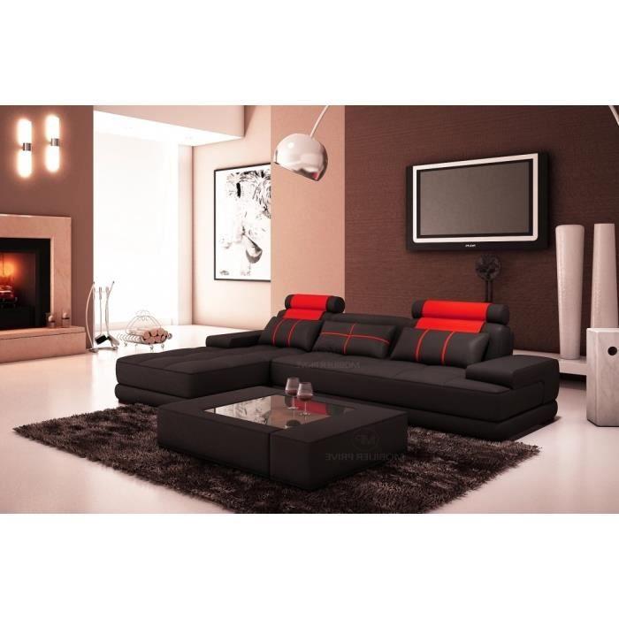 Canap d 39 angle en cuir italien 5 places elixa et achat vente canap sofa divan cdiscount Canape d angle italien