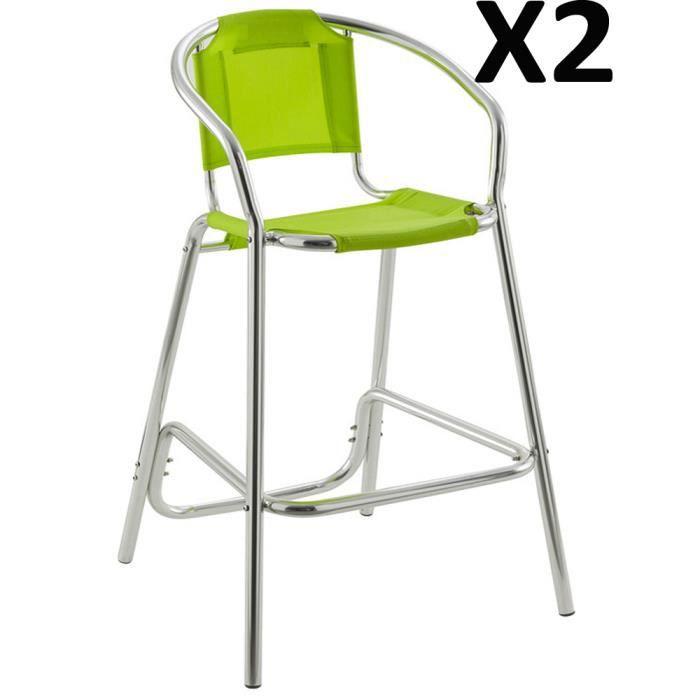 lot de 2 tabourets de bar ambre vert en aluminium et texalin 61 x 66 x 107 cm achat vente. Black Bedroom Furniture Sets. Home Design Ideas