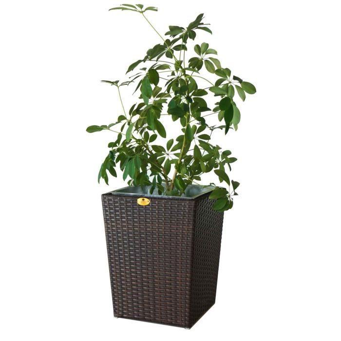 Cache pot en r sine tress e marron hauteur 86 cm achat vente jardini re - Cache pot resine tressee ...